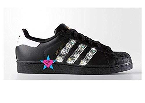80c9b86e251d7 Amazon.com  Custom Crystal Glitter Black Originals Superstar Shoes  Handmade