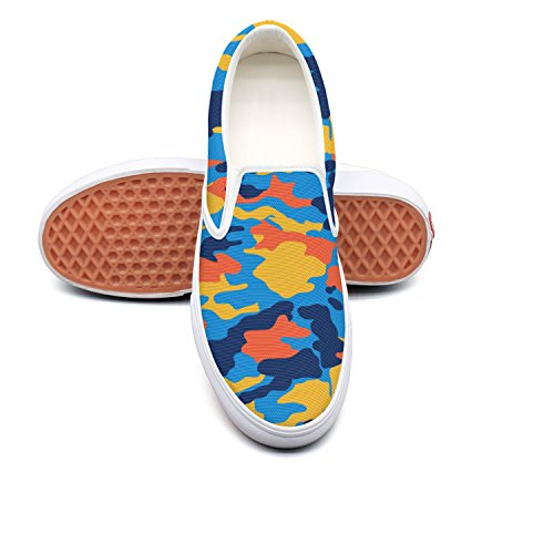 Designsonic Color Blue Red Yellow Cool Patterns Man Skateboard Shoes Low Top
