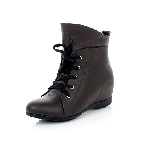 Heels Kitten Round 5 with Womens Leather Boots Closed Toe AmoonyFashion M 5 Platform Bandage Brown and Cow US B Solid EqIXav
