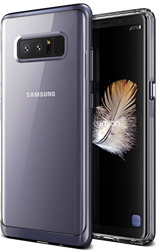Note 8 Case, Clear Transparent Protective Slim Fit Full Body Armor Defender Bumper [Wireless Charging Compatible] Cover for Samsung Note 8 (2017) by Lumion (Diamond Bumper - Orchid Purple)