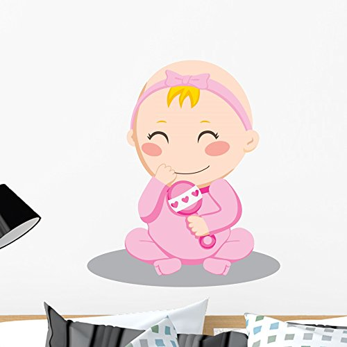 Wallmonkeys Baby Girl Rattle Wall Decal Peel and Stick Graphic (24 in H x 24 in W) WM65933