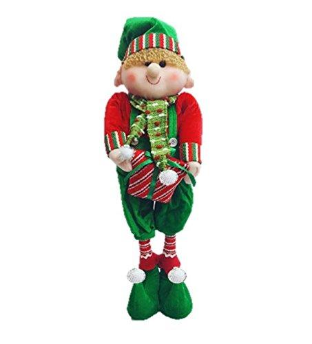 Starmo Boy Elf Extendable Legs Christmas Decorations Approx 42 - 65cm Green  & Red - Starmo Boy Elf Extendable Legs Christmas Decorations Approx 42