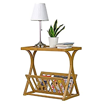 End Tables Living Room Chairside Accent Snack Coffee Table Home Furniture Sofa Side Organizer Lamp Storage Magazine Rack Bedroom Office Decorative Accesories Bamboo Natural