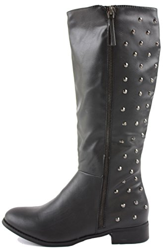Style 8 Winter Womens Leg Black Knee Heel Boots 3 Calf Low Style Size Biker 12 Pirate Flat 6OdwOS