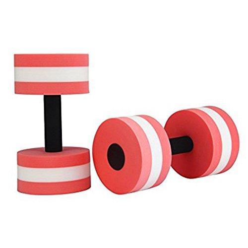 BigBoss Sports Aquatic Exercise Dumbbells Aqua Fitness Barbells Exercise Hand Bars - Set of 2 - For Water Aerobics (pink)