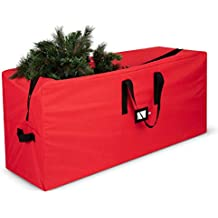 Premium Christmas Tree Storage Bag - Fits Up to 7 ft Tall Artificial Disassembled Trees, Durable Handles & Sleek Dual Zipper - Holiday Xmas Bag Made of Tear Proof 600D Oxford - 5 Year Warranty, Red