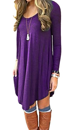 DEARCASE Women\'s Long Sleeve Casual Loose T-Shirt Dress Purple