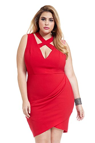Women's Plus Size Tanque Crossover Deep-V Dress