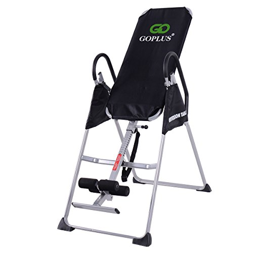 Goplus Gravity Fitness Therapy Inversion Table Adjustable Folding Back Therapy Table Reflexology
