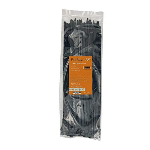 Zip Ties 12 Inch UV Black Plastic Cable Tie 50LB 200 PCS