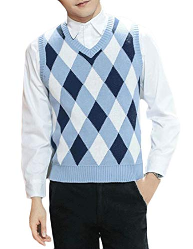 KLJR Men V Neck Sleeveless Diamond Pattern Pullover Sweater Vest Light Blue US L