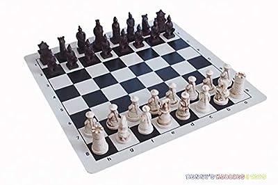 Pasuk2788 New Chinese Chess Set (Qing Dynasty vs Terracotta Warriors) w/ Vinyl Chess Board