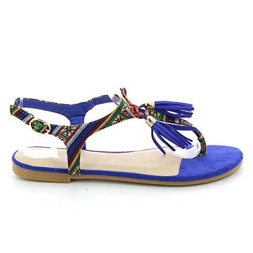Sandalias étnicas a pompones planas Azul - azul