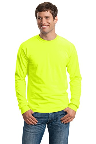 - Gildan 2400 - Classic Fit Adult Long Sleeve T-shirt Ultra Cotton - First Quality - Safety Green - X-Large