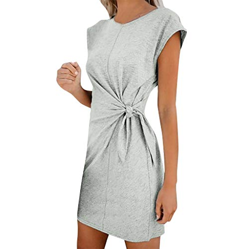 TANGSen Womens Casual Pocket Solid Summer Dress Ladies Short Sleeve Fashion Evening Party Mini Dress