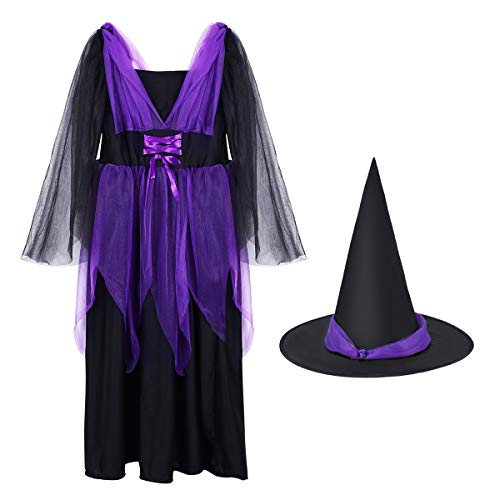 TinTop Witch Outfit Magic Costume Long Dress Pointed Hat Safe Comfortable Abrasion Resistant Double Layer Gauze Fashionable Performance Party Girl
