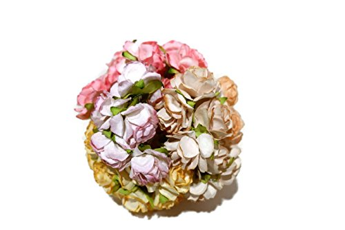 n.1 50 pcs Mini Rose Mixed 4 Colors Mulberry Paper Flower 25mm Scrapbooking Wedding Doll House Supplies Card by' Thai Decorated
