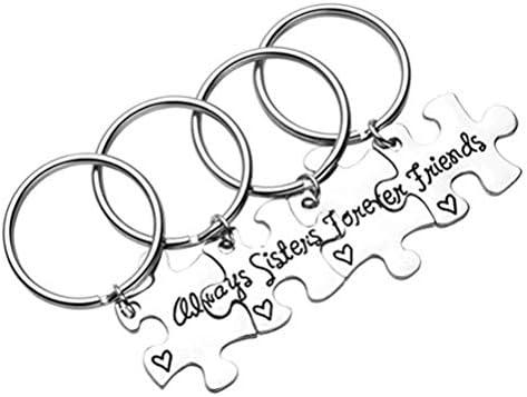 TOYANDONA 「常に姉妹は永遠に友達」ジグソーパズルピースマッチングペンダントキーホルダーセットガールズフレンドシルバー