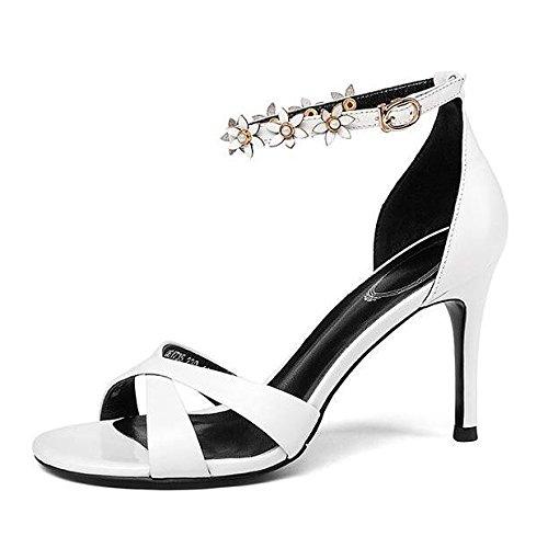 Cross Sandali Caviglia 37 Alti Peep Moda Donna Tacchi Cinturino Strap Scarpe Estate Fiori da Semplici Fibbia Alla White Stiletto Toe wqfMXRzg