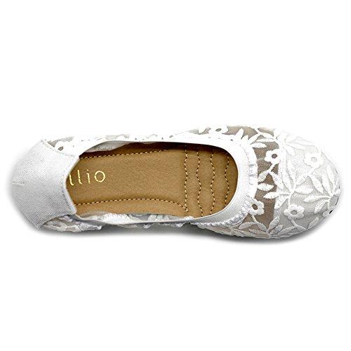 Ollio Scarpe Da Donna Pizzo Ricamo Floreale Slip On Comfort Light Ballet Flat White