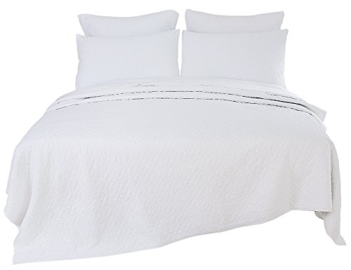 PHF Stone Washed Quilt Coverlet Set 100% Microfiber 3 Piece King Size White