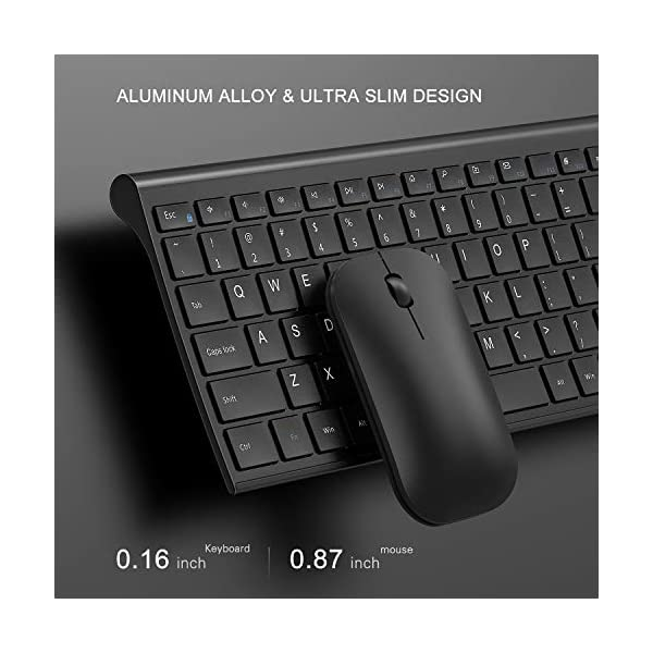 Rechargeable Wireless Keyboard Mouse, Jelly Comb 2.4GHz Ultra Slim Full Size Wireless Keyboard Mouse Combo for Laptop…