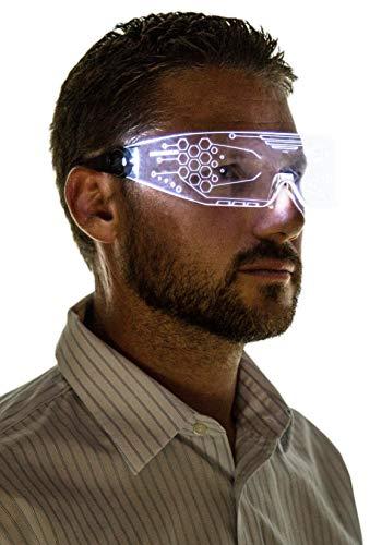 Neon Nightlife LED Light Up Glasses, Single Lens Tron Style, White]()