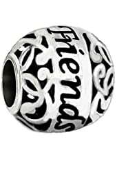 "Sterling Silver ""Friends"" Bead Charm Filigree Design"