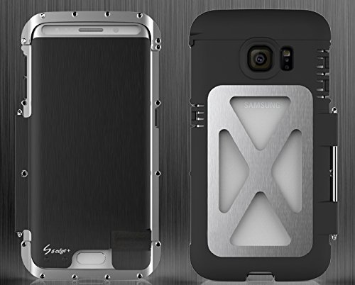 Armor Metal Hybrid (For Samsung Galaxy S6 Edge Plus Heavy Duty Armor King Cool full Body Armor Hybrid Defender Shockproof Luxury Aluminum Metal Protective Case Cover (King Silver+Black))