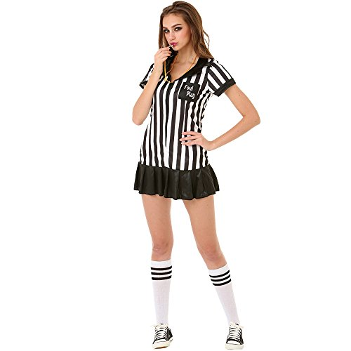 Halloween Costume Referee (Risque Referee Women's Halloween Costume Sexy Sports Ref Ump Skirt Outfit)