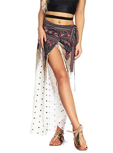 (Women's Boho Bohemian Hippie Skirt Long Maxi Print Wrap Skirt Cover up Maxi Asymmetrical Summer Beach Skirt One Size)