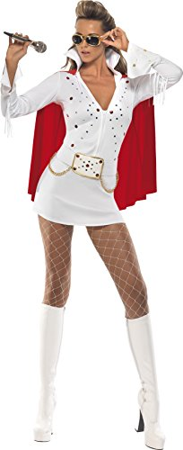 Smiffy's Elvis Girl Viva Las Vegas Adult Costume, - Elvis Costume White