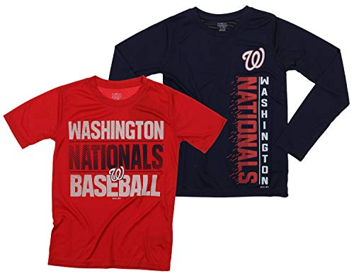 Outerstuff MLB Boys Young Baseball Fan Two Performance T-Shirt Set, Washington Nationals, Medium - Nationals Washington Piece Mlb 2