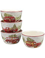 """Certified International 22782SET4 Home for Christmas 5.5"""" Ice Cream Bowl, Set of 4 Assorted Designs, One Size, Mulicolored"""