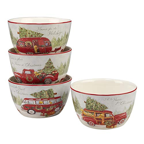 Certified International 22782SET4 Home for Christmas 5.5 Ice Cream Bowl, Set of 4 Assorted Designs, One Size, Mulicolored