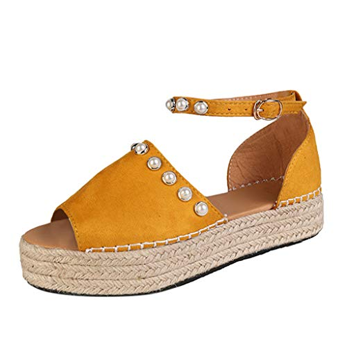 - SSYongxia❤ Women's Open Toe Ankle Strap Espadrille Sandal Buckle Faux Leather Studded Wedge Summer Sandals Yellow