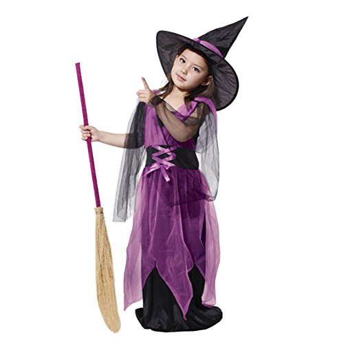 CH&Q Kids Purple Witches Halloween Children Costume and Bloom