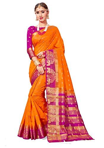 Sarees for Women Banarasi Art Silk Woven Saree l Indian Wedding Gift Sari with Unstitched Blouse ()