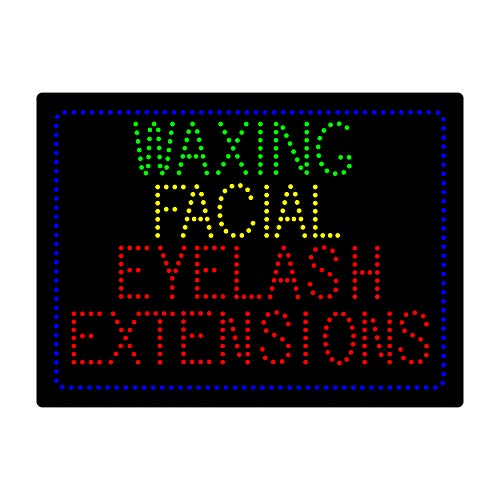 (LED Facial Waxing Eyelash Extension Microblading Open Light Sign Super Bright Electric Advertising Display Board for Beauty Salon Message Business Shop Store Window Bedroom 24 x 16 inches)