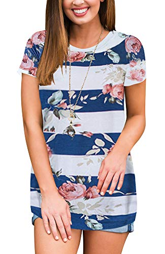 FAVALIVE Womens Round Neck Tunic Tops with Sleeves Summer Clothes Blue M