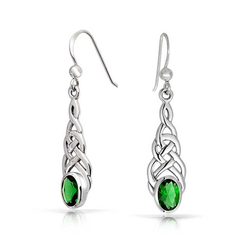- Celtic Knot Work Love Knot Kelly Green Dangle Earrings Fish Hook Oval Simulated Emerald Glass 925 Sterling Silver