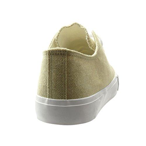 Angkorly - Scarpe da Moda Sneaker low donna intrecciato Tacco tacco piatto 0 CM - Beige