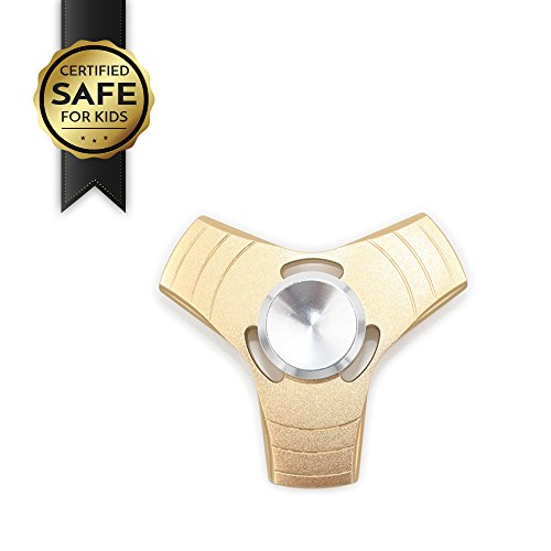 Luxury Fidget Spinner by ForlifeStore, Metal Hand Spinner with Premium R188 Bearings High Speed | Top Best Toys 2017 for Stress Reducer, Certified Safe Material for Kids | Gold Silver Color