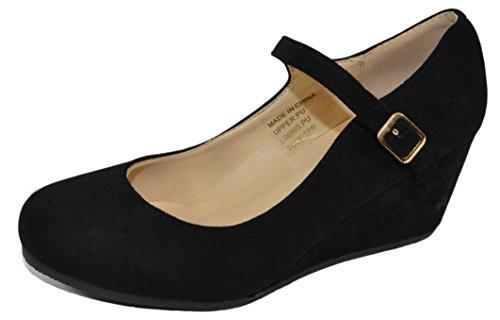Jane Almond Pump Haphop Shoes Heel Mary Toe Black Mid Wedge Women's HIIqnOg6