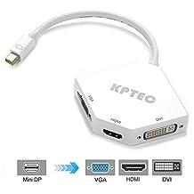 KPTEC Mini DisplayPort (Thunderbolt) to HDMI 4K DVI VGA Adapter – White