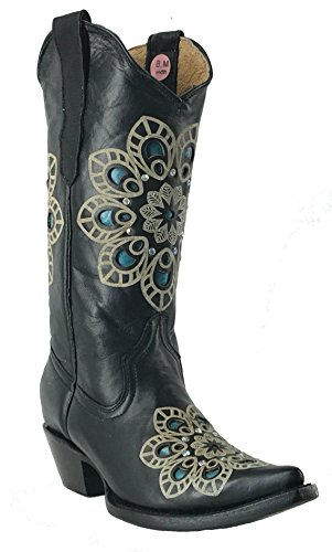 Women's New Rhinestone Distressed Leather Cowgirl Western Boots Snip Black 5.5 ()