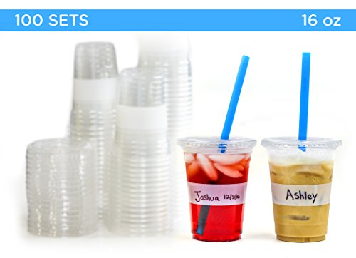 Tovla Clear Plastic 16 oz. Disposable Cups with Lids (100-Count Set) for Iced Coffee or Tea, Milk, Juice, Soda, Water | Disposable Party Drinkware, Writable Exterior | Kids