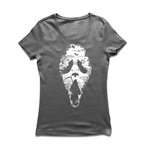 lepni.me Women's T-Shirt Tribal Grim Reaper Scream - Death Creepy Scary (Large Graphite Multi Color) ()