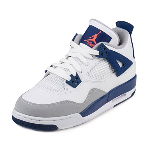 JORDAN 4 Retro Gg Big Kids Style, White/Hyper Orange/Deep Blue, 6.5 by Jordan