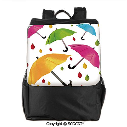 - Double Shoulder Pack,Several Size Umbrella Motif with Leaf Droplets Water Climate Security Design,Backpack Men & Women School Travel,19 OZ